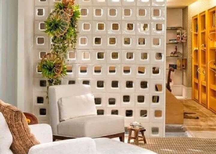 decoração com cobogó branco para divisão de ambientes Foto Pinterest