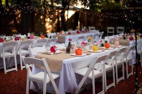 decoração de casamento area dos convidados simples