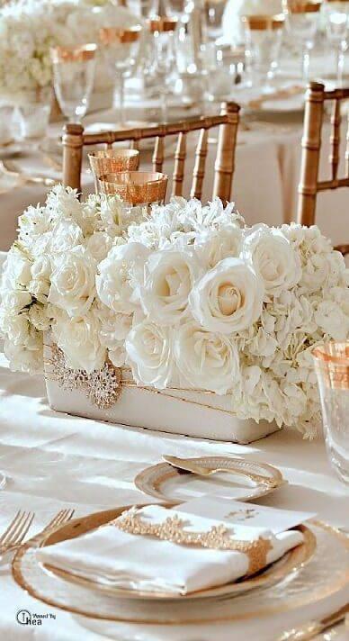 decoração de casamento arranjo de mesa branco