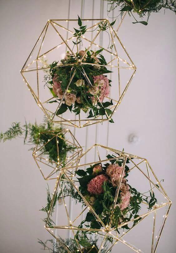 decoração de casamento arranjos suspenso