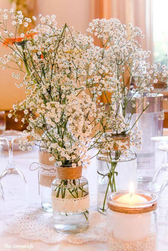 decoração de casamento garrafa camomila