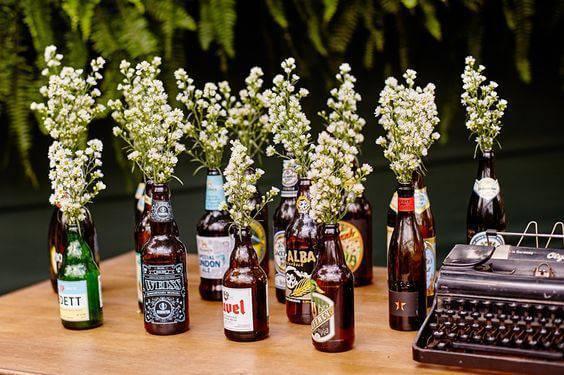 decoração de casamento garrafa cerveja