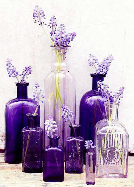 decoração de casamento garrafa lavanda