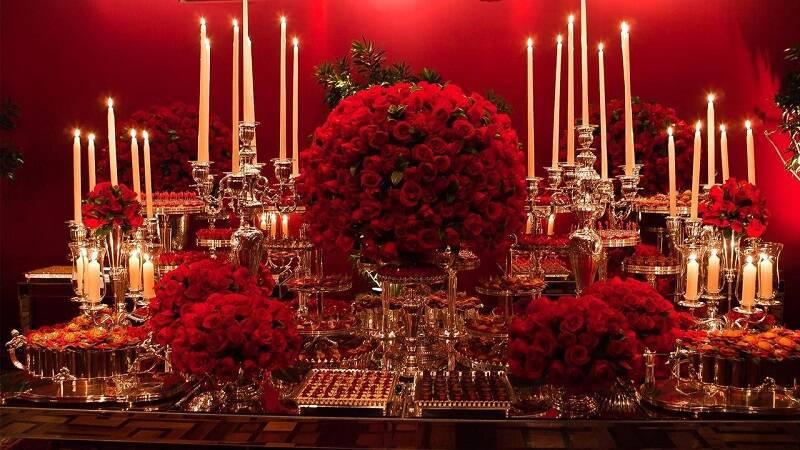 decoração de casamento mesa do bolo Jayme Bernardo vermelho
