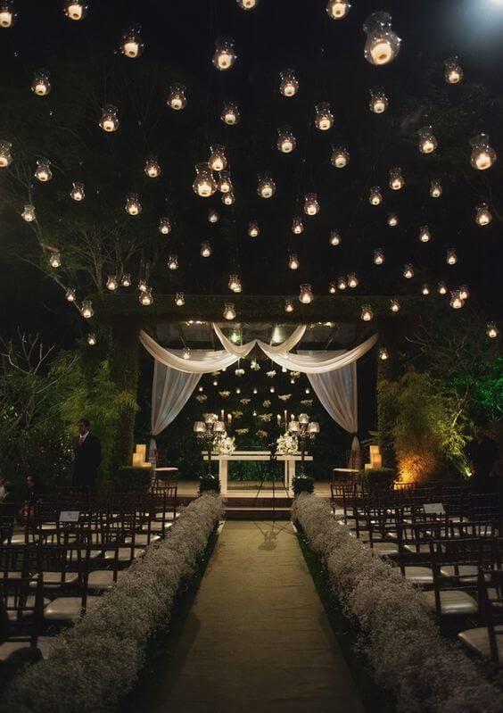 decoração de casamento noturno