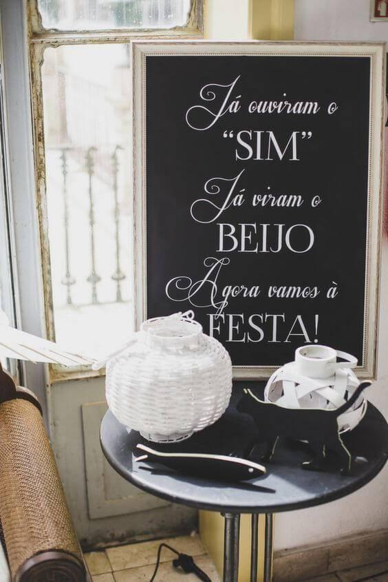decoração de casamento placas para festa
