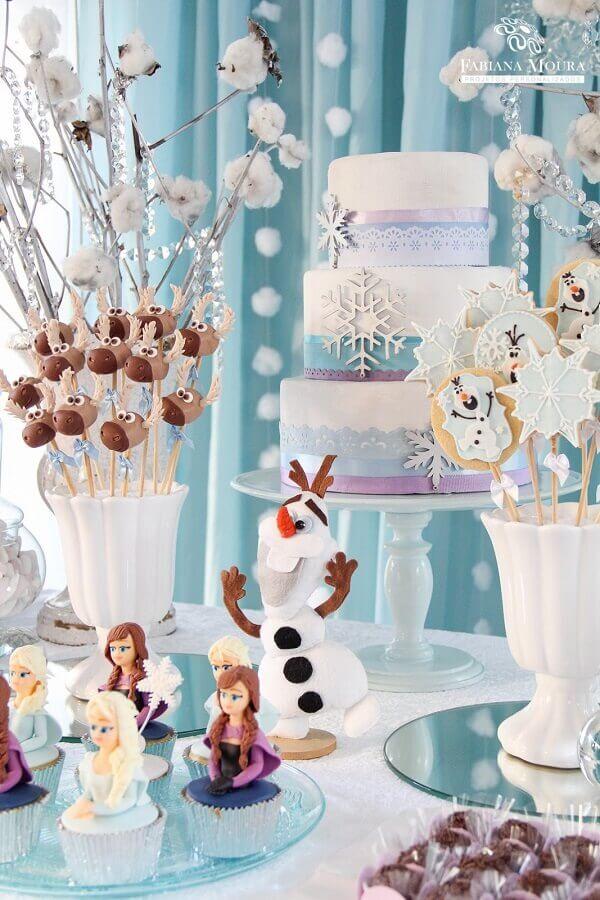 decoração de festa infantil com tema frozen Foto Fabiana Moura Projetos Personalizados
