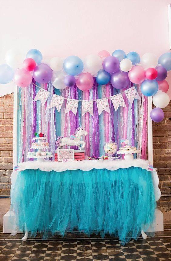 decoração de festa infantil de unicornios