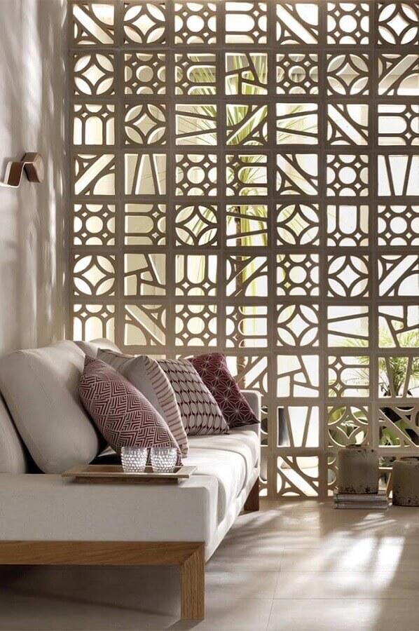 decoração de sala com cobogó de concreto para divisão de ambientes Foto Viviana Reis Design de Interiores