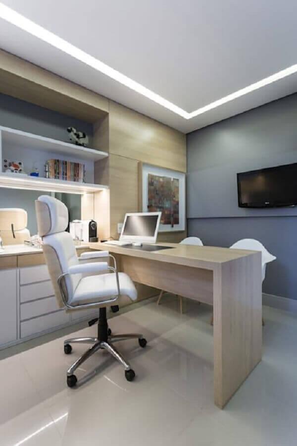 decoração em tons neutros com móveis para escritório Foto Live Ambientes