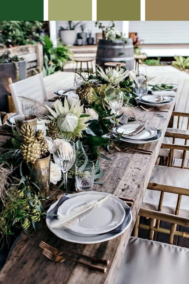 Enfeite de mesa com flores exóticas e lindas