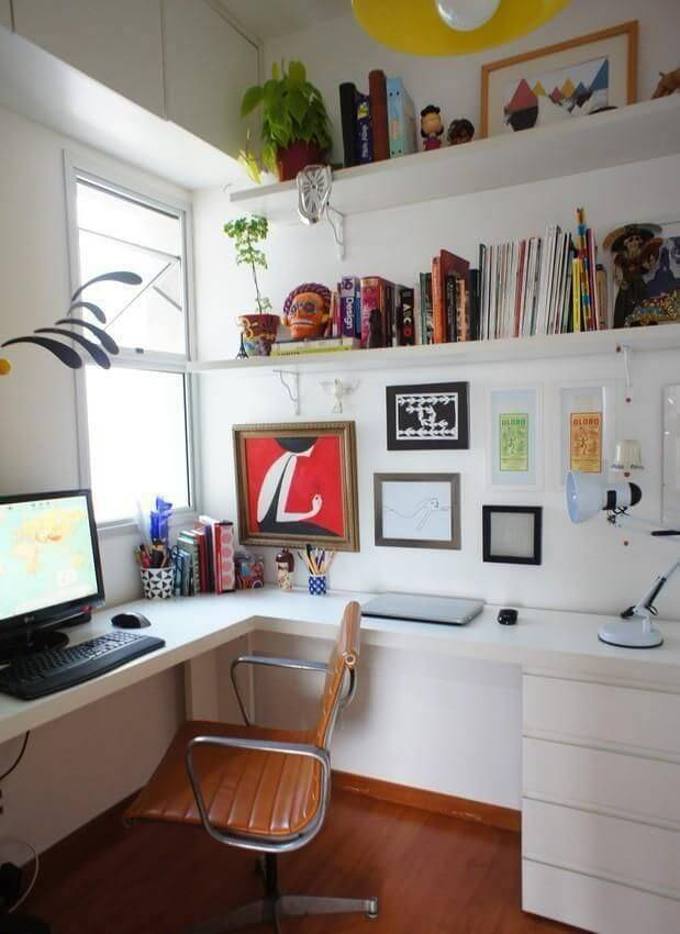 escrivaninha branca com prateleiras home office estudio ferdi 28219