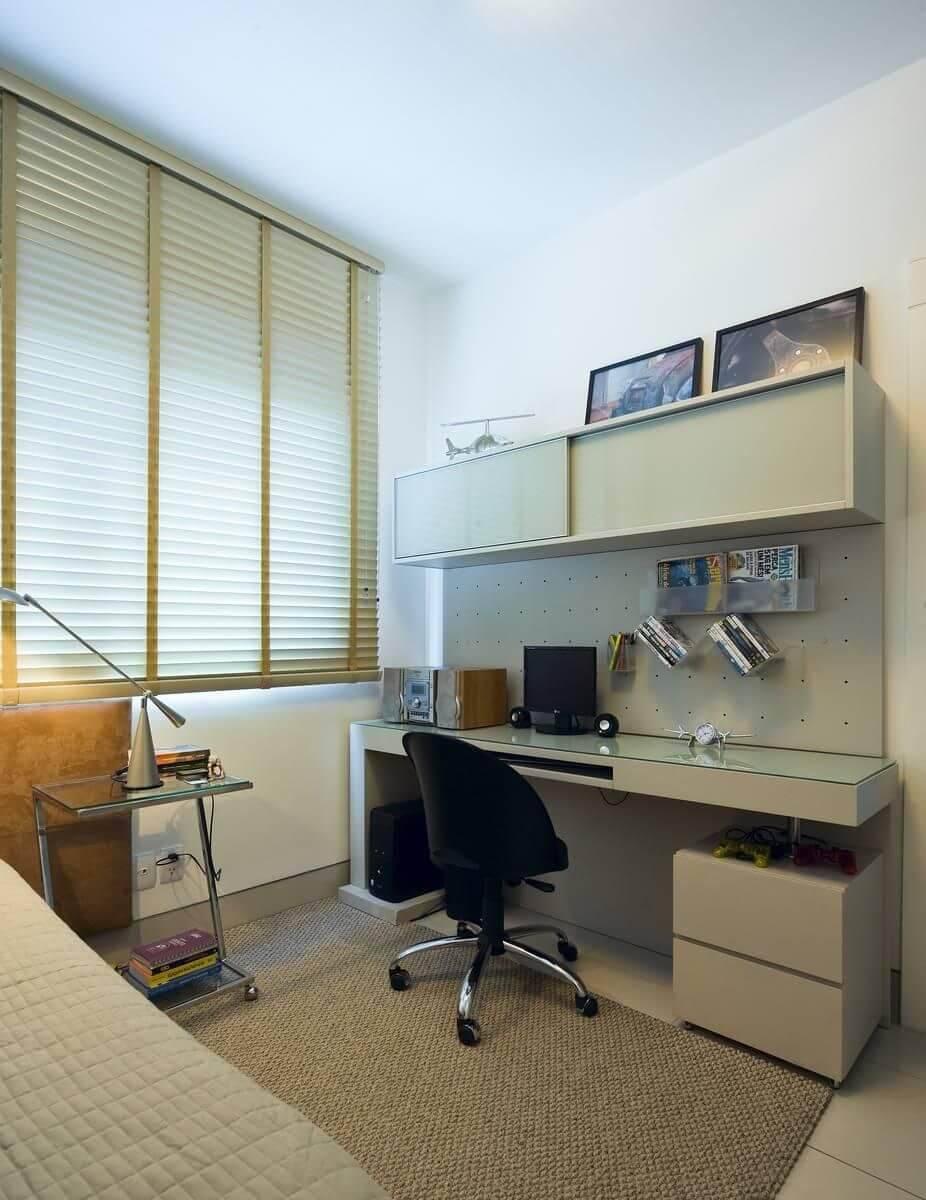 escrivaninha branca quarto de solteiro com armario renata basques 86009