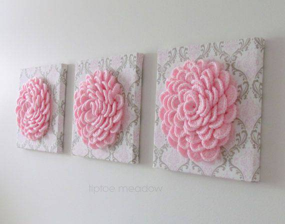 flores de croche em quadros triplos-min