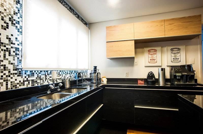 gabinete de cozinha preto e prata elegante casa 2 arquitetos 12789