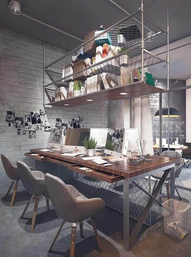 móveis para escritório com decoração estilo industrial Foto Wood Save