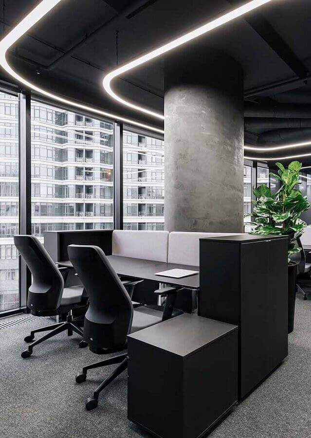 móveis para escritório decorado com cimento queimado Foto Wood Save