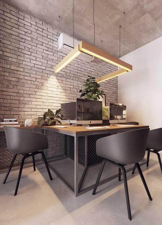 móveis para escritório decorado com parede de tijolinho Foto Pinterest
