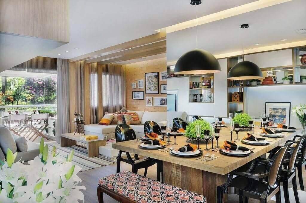 Mesa de madeira 39 mesas lindas dicas de uso for Sala rustica moderna