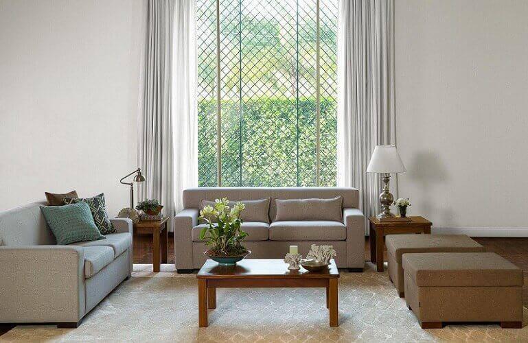 mesa de madeira sala de estar centro e lateral codecorar 77465
