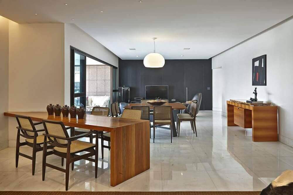 mesa de madeira sala de jantar com cadeiras david guerra 24336
