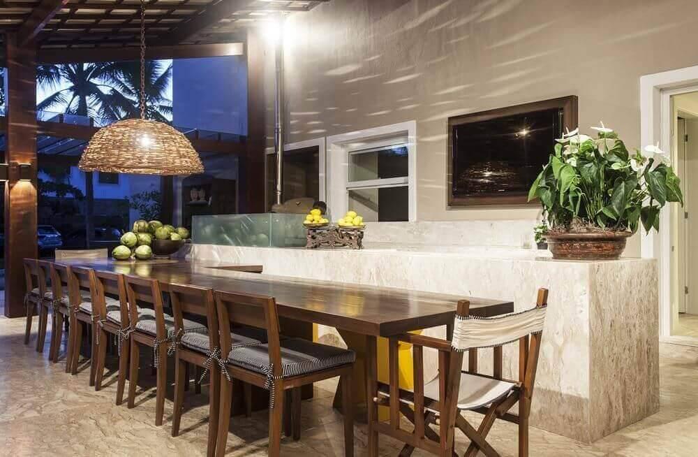 mesa de madeira varanda gourmet com cadeiras nagila andrade 25993