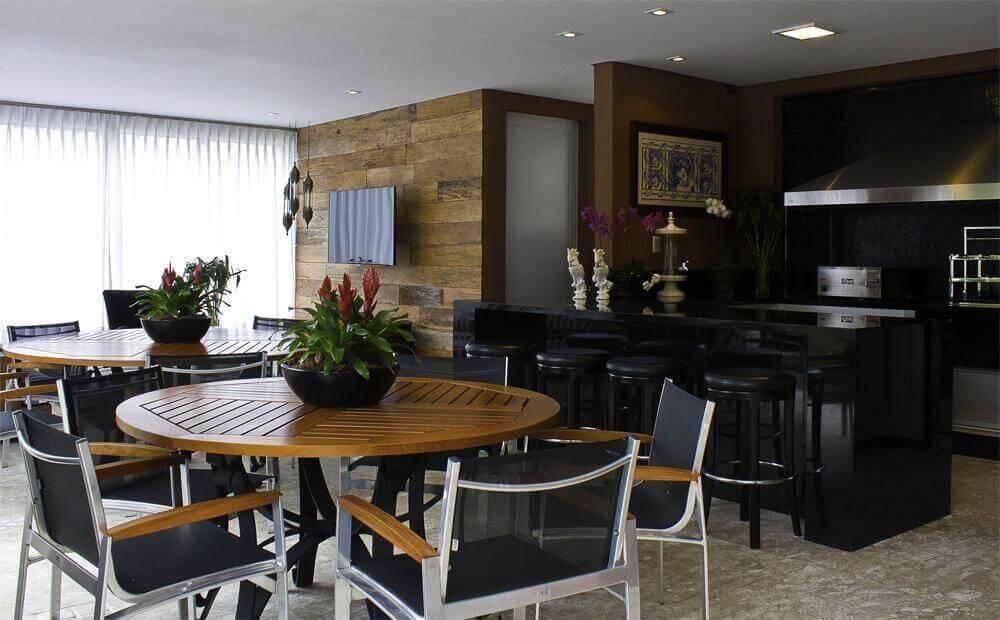 mesa de madeira varanda gourmet com preto fabio morozini 22638