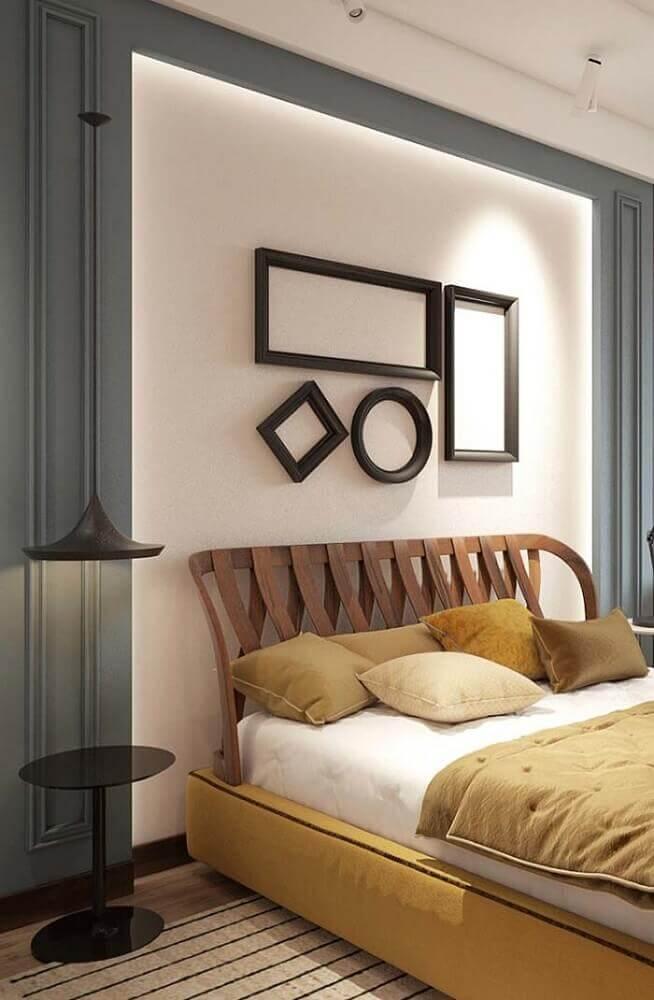 modelo de cabeceira de madeira diferente para cama de casal