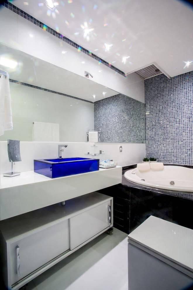 pastilhas de vidro banheiro com cuba azul bruno sgrillo 88508