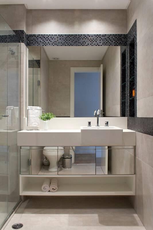 pastilhas de vidro banheiro detalhe espelho semiramis alice arquitetura e design 148660