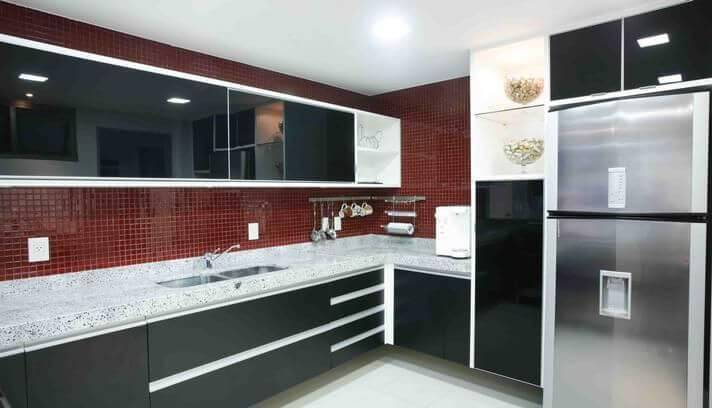 pastilhas de vidro cozinha preta e branca osv moveis planejados 95146