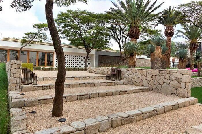 pedras decorativas jardim escada com cascalho daniel nunes paisagismo 73593
