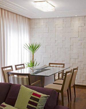 pedras decorativas parede sala de jantar mosaico natalia pini 52431