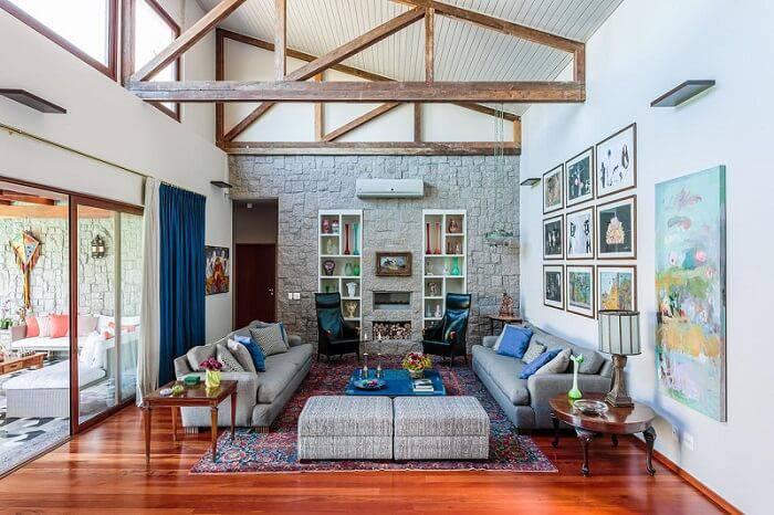 pedras decorativas sala de estar mosaico rustico amc arquitetura 90753