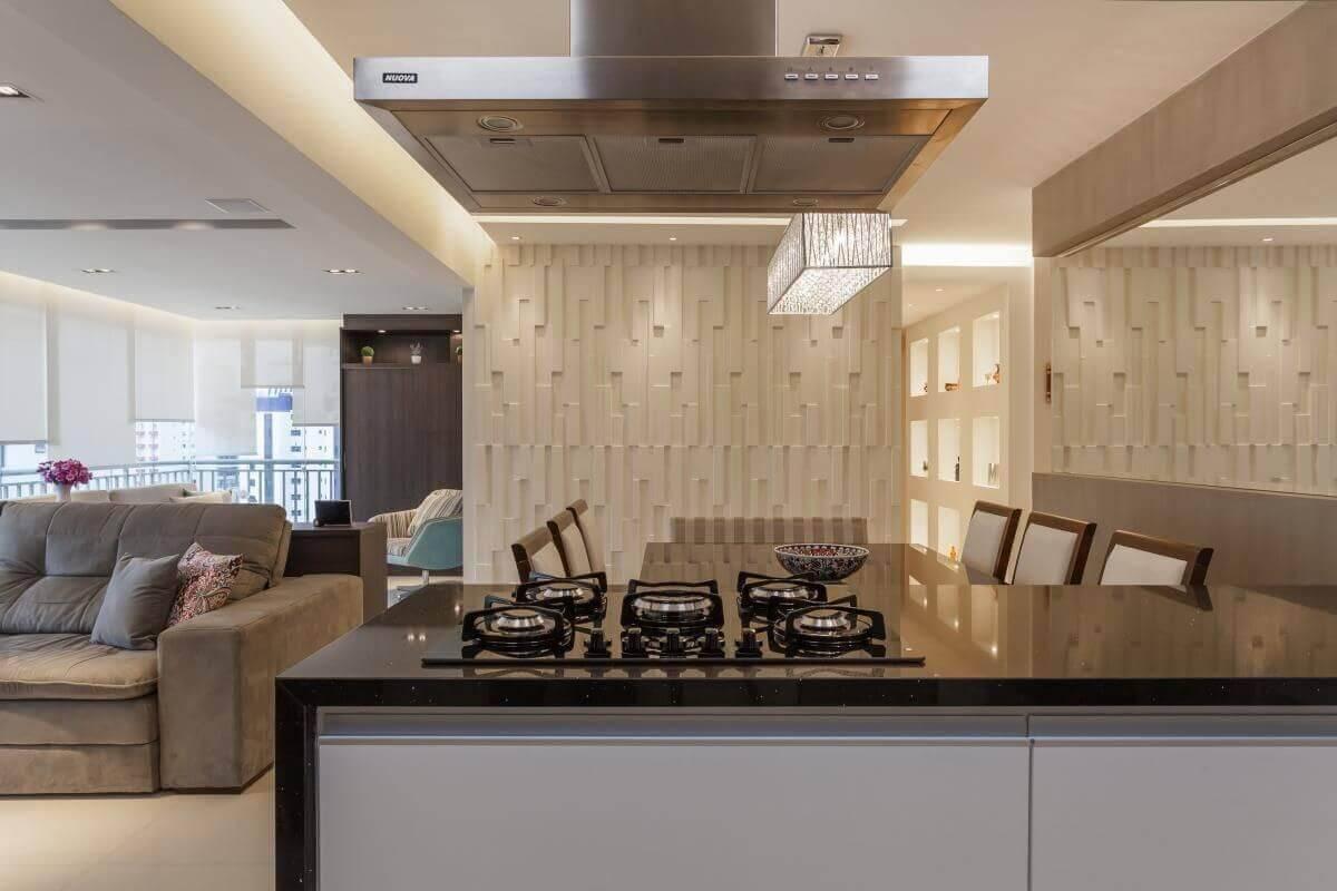 revestimento 3d cozinha integrada raduan arquitetura 100113