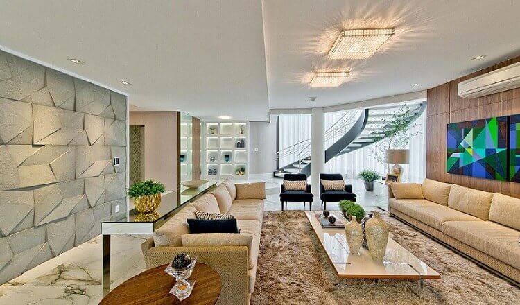 revestimento 3d sala de estar ampla com tapete espaco do traco 105163