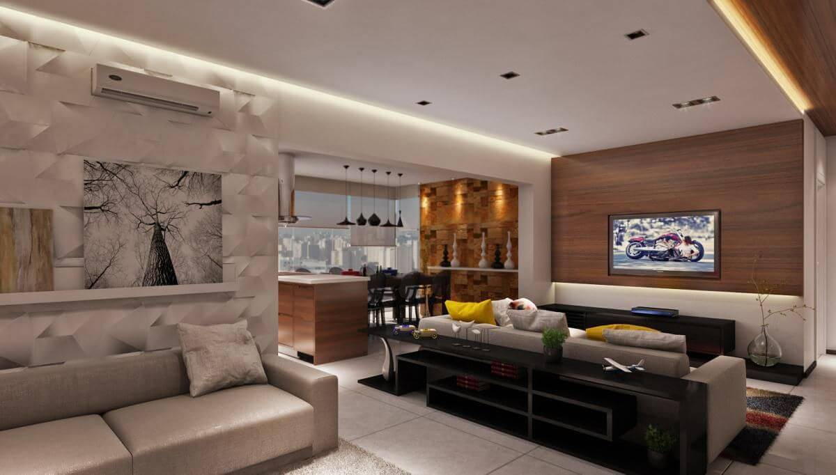 revestimento 3d sala de estar e tv raduan arquitetura 100108