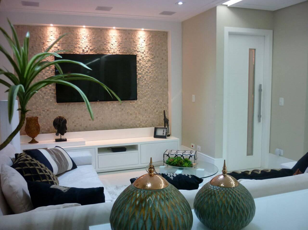 Revestimento 3d 36 modelos de ambientes incr veis for Sala de estar com papel de parede 3d