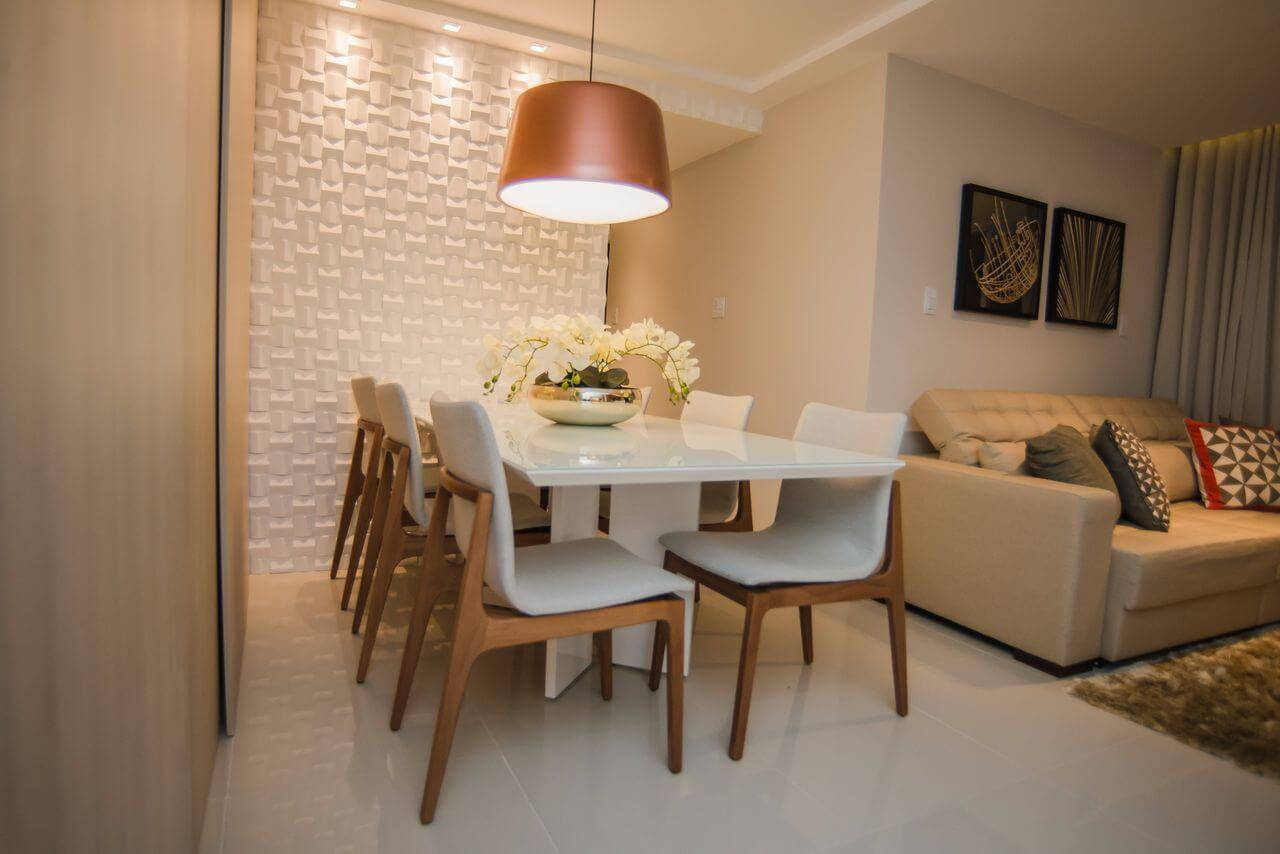 revestimento 3d sala de jantar com luminaria andrea fonseca 148613