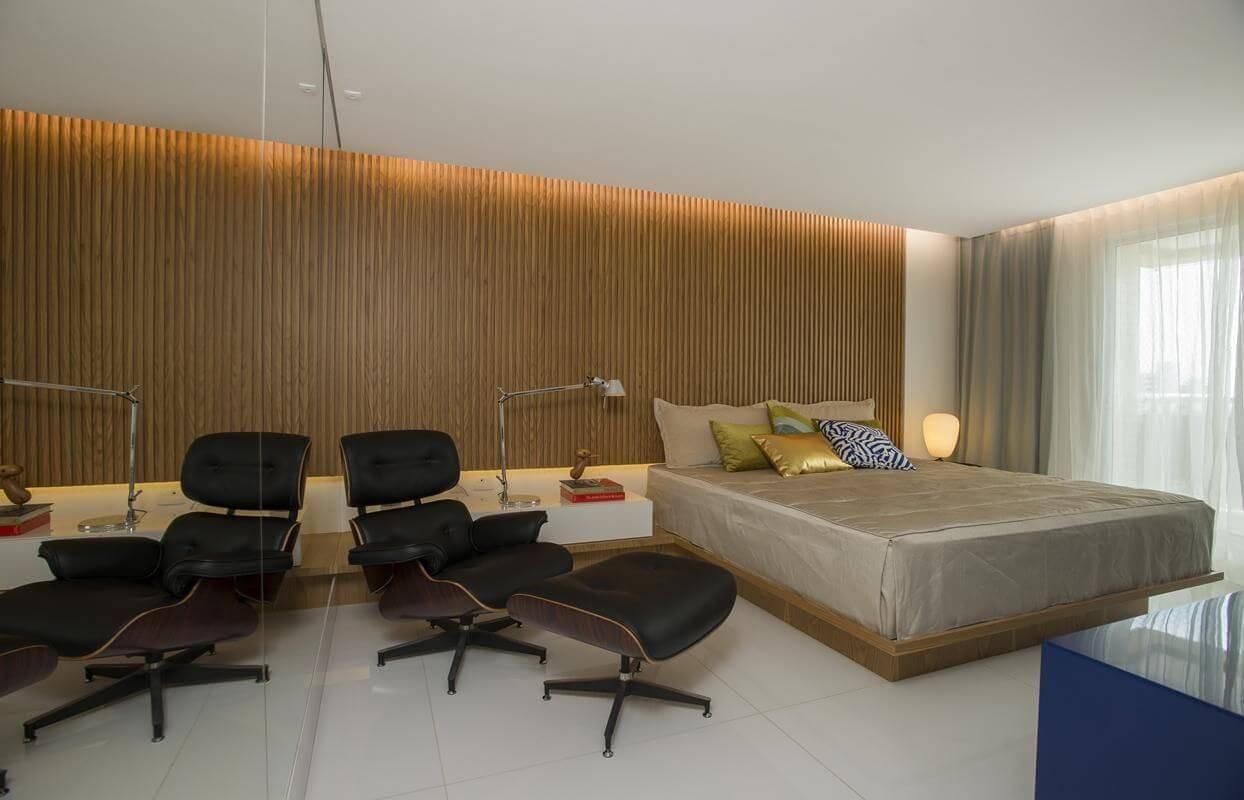 revestimento de parede madeira quarto de casal rodrigo maia 16164