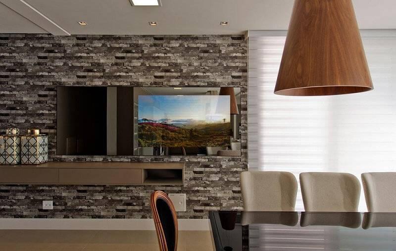 revestimento de parede pedra sala de estar espaco do traco 105575
