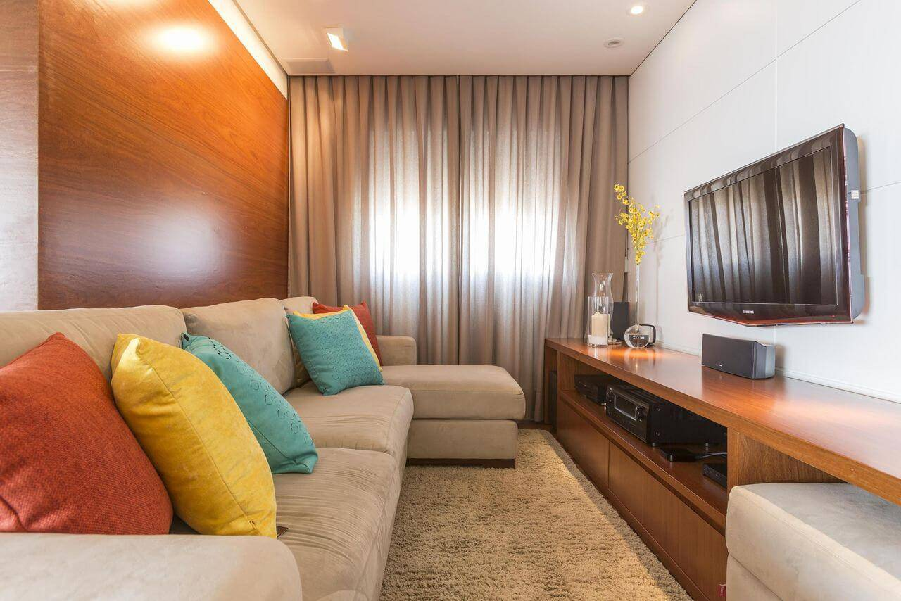 revestimento de parede sala de estar pequena madeira e gesso revistavd 13930