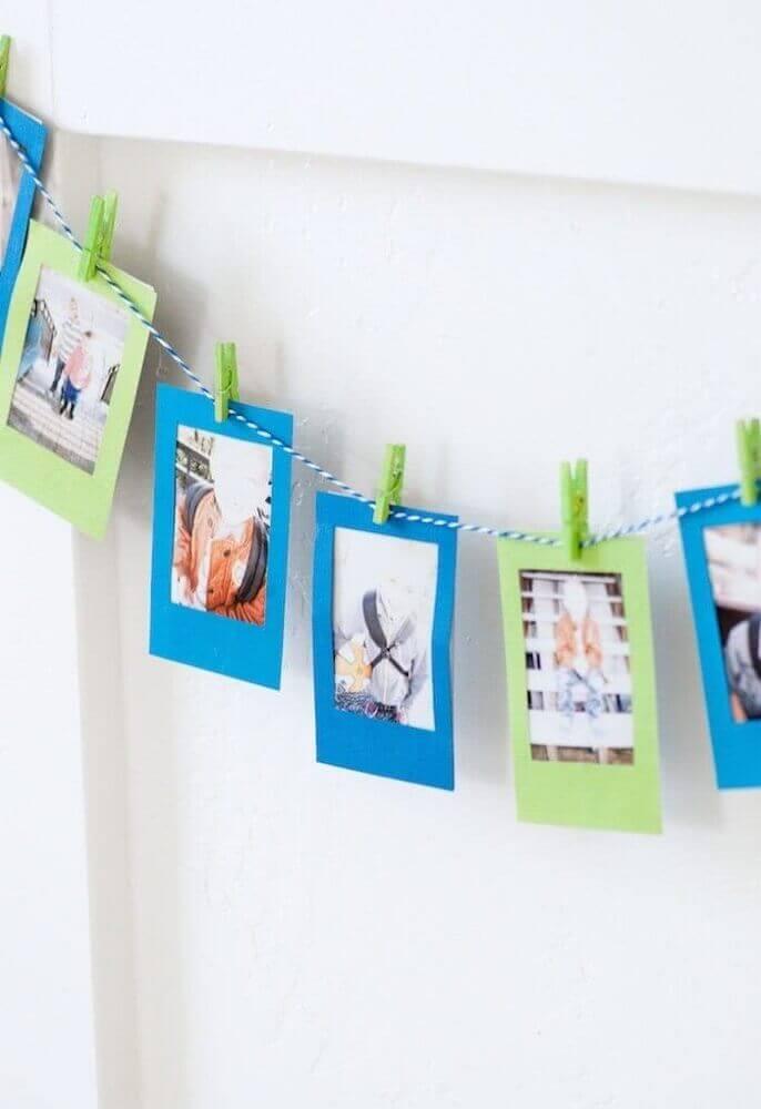 varal de fotos para decoração de dia dos pais