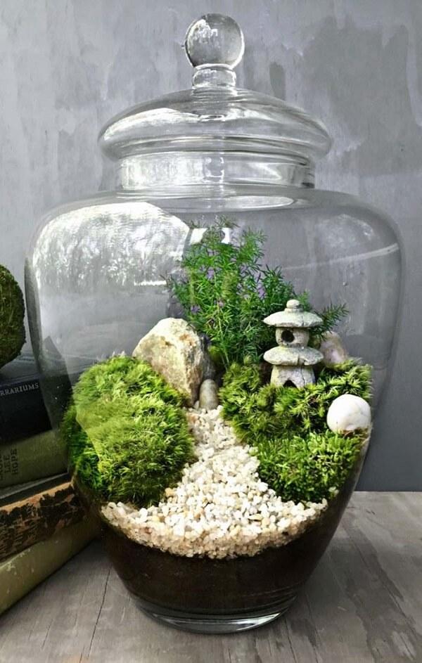O jardim japonês pode ser montado dentro do terrário
