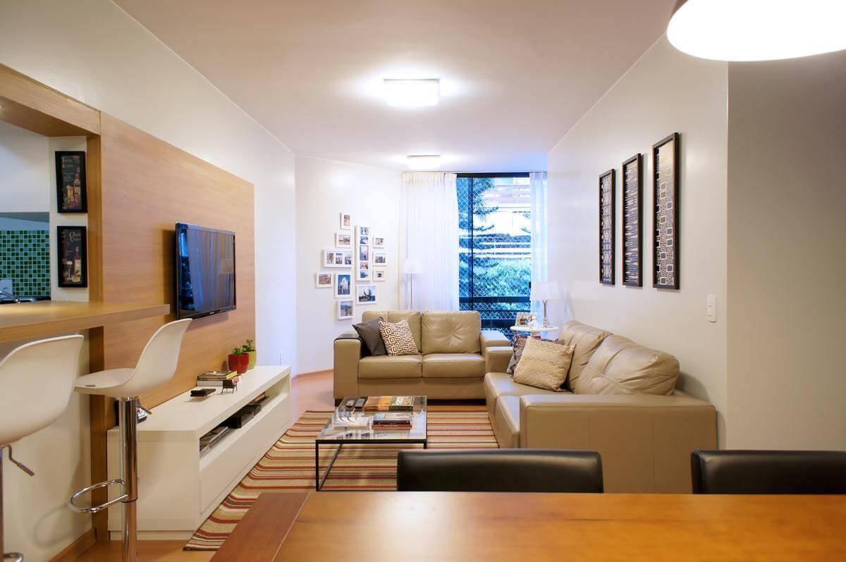 Rack para sala de estar feita com marcenaria integrada
