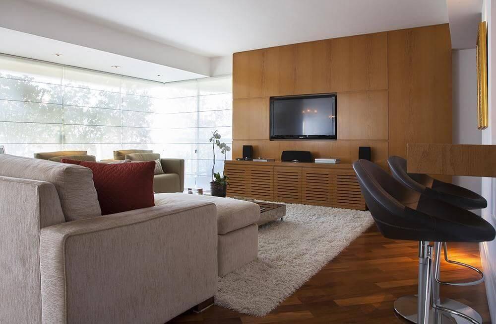 Rack para sala feita em madeira