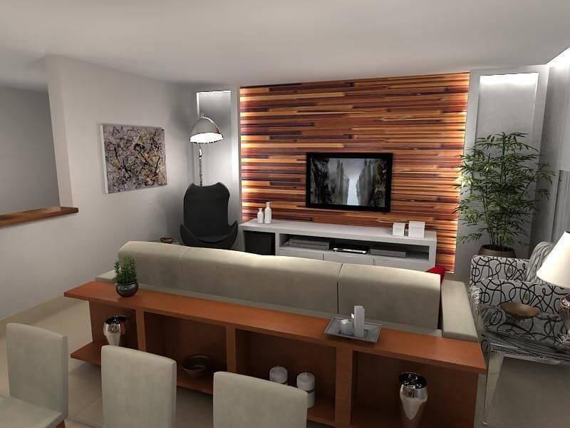 Projeto com revestimento em parede e rack branco
