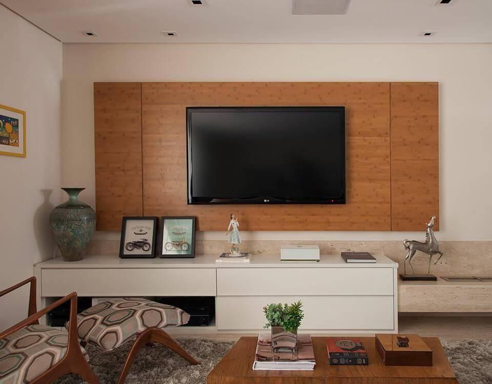 Rack para sala de estar com decoração contemporânea
