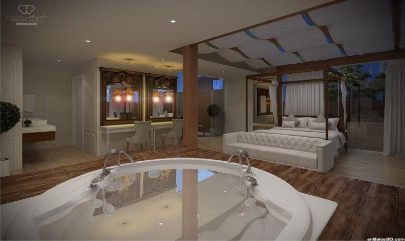 Spa em casa em quarto de casal Projeto de Tatiana Massa