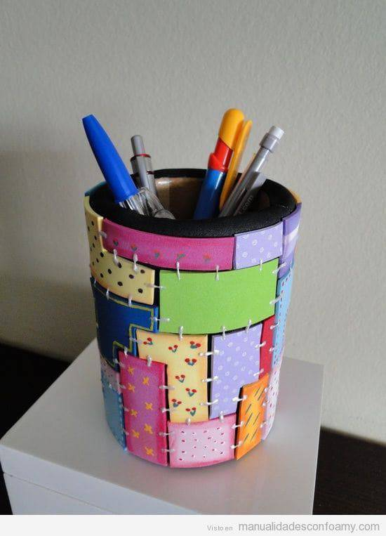 artesanato em eva porta canetas retalhos